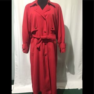 London fog red wool lined trench coat size 10